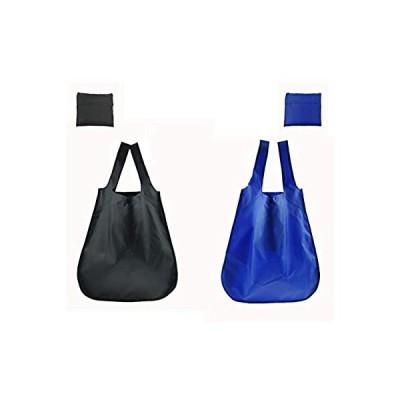 エコバッグ 折りたたみ 買い物袋 リュック コンパクト バックパック メンズ レディース 2個セット ブラック ブルー BDSJ11-BB