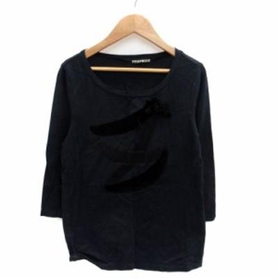 【中古】フラボア FRAPBOIS Tシャツ カットソー ラウンドネック 七分袖 リボン 1 紺 ネイビー 黒 ブラック レディース