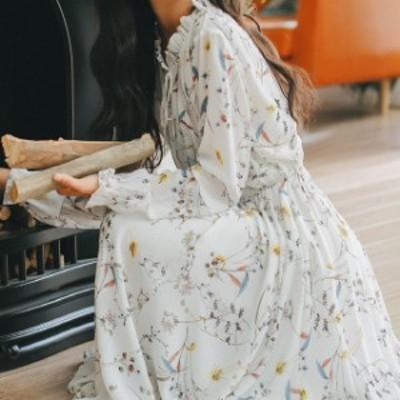 レディース ワンピース 春秋 人気 売れ筋 春物 花柄 ワンピ ロング ふんわり かわいい ガーリー フリル リボン フレア デート 可愛い 透