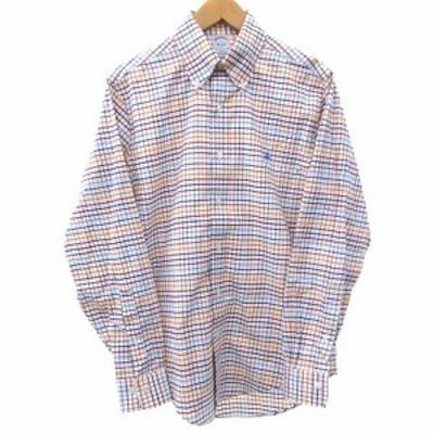 【中古】ブルックスブラザーズ 美品 シャツ 長袖 ボタンダウン チェック 刺繍 ワンポイント スーピマコットン S マルチカラー メンズ