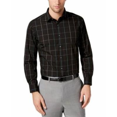 ファッション ドレス Bar III Mens Dress Shirt Black Size Small S 14-14 1/2 Windowpane