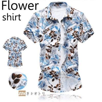 カジュアルシャツ シャツ 花柄シャツ 半袖シャツ メンズ シャツ アロハシャツ 大きいサイズ 総柄 薄手 トップス