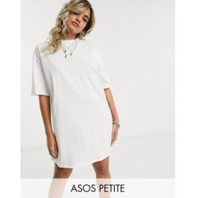 エイソス ASOS Petite レディース ワンピース ポケット Tシャツワンピース ASOS DESIGN Petite oversized t-shirt dress with pocket det