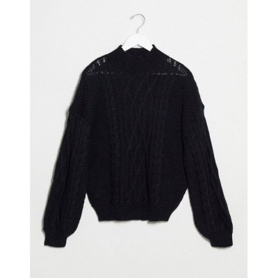 ヴィラ Vila レディース ニット・セーター トップス High Neck Cable Knit Jumper In Black ブラック