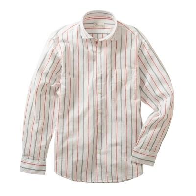 CANTERBURY WOOD(カンタベリーウッド)綿麻ストライプ柄長袖シャツ カジュアルシャツ, Shirts, テレワーク, 在宅, リモート