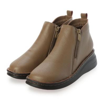 ハナスタイル hanaSTYLE らくらくクッション サイドジッパー ショート ブーツ (オークスムース)