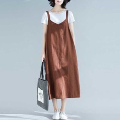 オールインワン 大きいサイズ サロペットワンピース レディース サロペットスカート