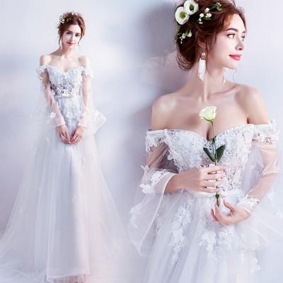 ウェディングドレス 結婚式 二次会 花嫁ドレス Aラインドレス  ロングドレス 二次会 花嫁 パーティー ノースリーブ 大きいサイズ ホワイト 白