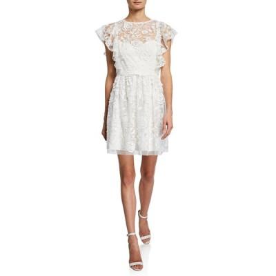 モニーク ルイリエ レディース ワンピース トップス Lace Illusion Flutter-Sleeve Dress