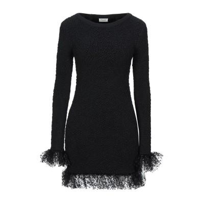 SAINT LAURENT ミニワンピース&ドレス ブラック XS シルク 91% / ナイロン 6% / ポリウレタン 3% / ポリエステル ミ