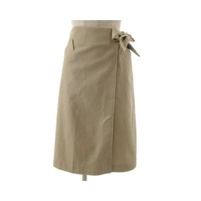 【中古】バナナリパブリック BANANA REPUBLIC スカート ラップスカート ミディ丈 リボン ベージュ 00 レディース 【ベクトル 古着】