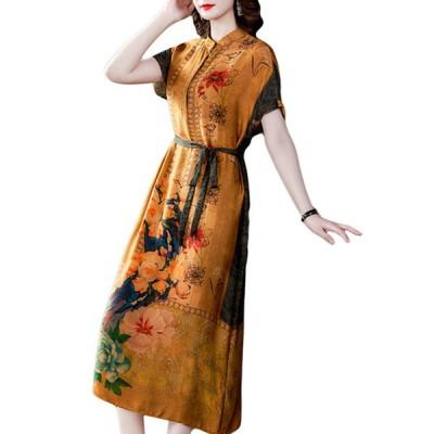 ワンピース  レディース 花柄 着痩せ 日焼け止め ドレス 半袖 春 夏 秋用 ロング シルク プリント 体型カバー  ゆったり 女性 通勤