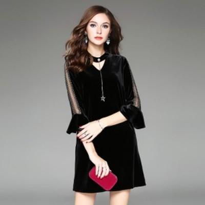 スタンドカラー 装飾付き ワンカラー キーホール ベルスリーブ 袖模様 無地 ショート丈 ドレス