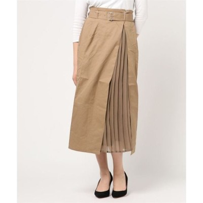 スカート 綿ツイル×シフォン切替プリーツスカート