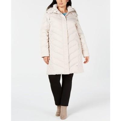ケネスコール コート アウター レディース Plus Size Faux-Fur-Trim Hooded Puffer Coat Frost