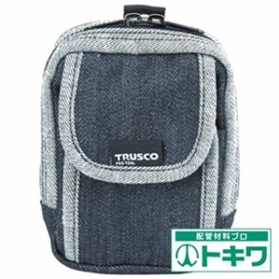 TRUSCO デニム携帯電話用ケース 2ポケット ブラック TDC-H102 ( 7689918 )