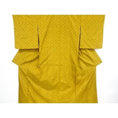 リサイクル 未使用品 七宝に十字井桁絣柄織出し米沢紬着物