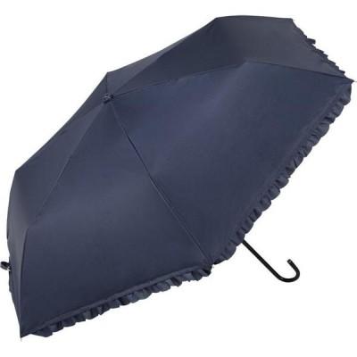 晴雨兼用 折りたたみ傘 PUヒートカット フリル ミニ ネイビー