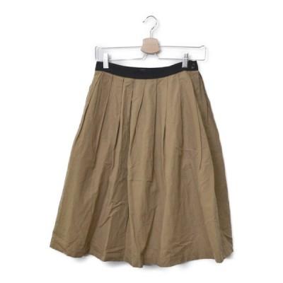 マーガレットハウエル MARGARET HOWELL ◆ 2016/ コットン リネン タック スカート/1/ブラウン M822