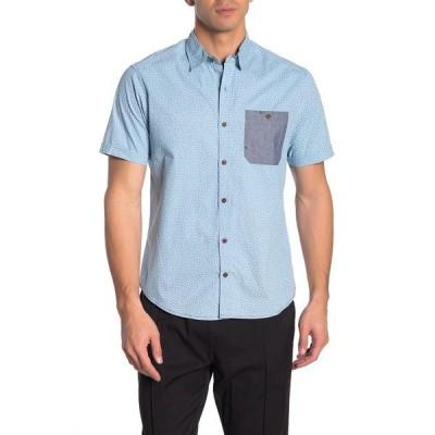 バーンサイド メンズ シャツ トップス Short Sleeve Triangle Print Novelty Woven Regular Fit Shirt BLUE