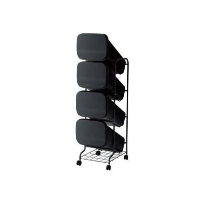 H&H スムース分別ごみ箱4段ダストボックスGBBH004 ブラック  80L 252811 1