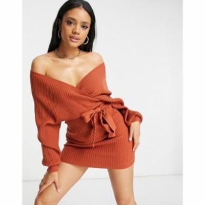 パラレルライン Parallel Lines レディース ワンピース ラップドレス ワンピース・ドレス Knit Wrap Jumper Dress In Rust ラスティック