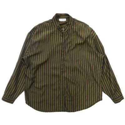 USA製 ST.REMO デザインシャツ ノーカラー バンドカラー ストライプ 長袖 サイズ表記:XXL
