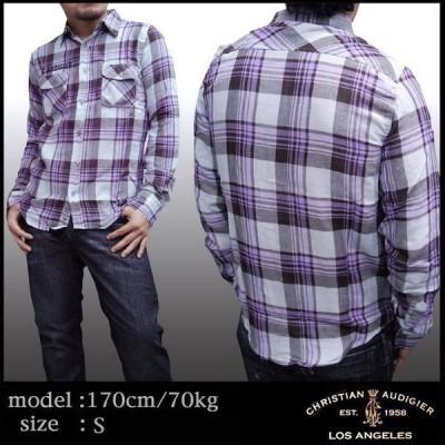 クリスチャンオードジェー メンズ シャツ Christian Audigier チェックシャツ SHIP TO SHORE パープル セレブ 正規 ブランド