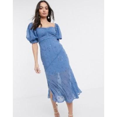 エイソス レディース ワンピース トップス ASOS DESIGN off shoulder embellished studded broderie midi dress Cornflower blue