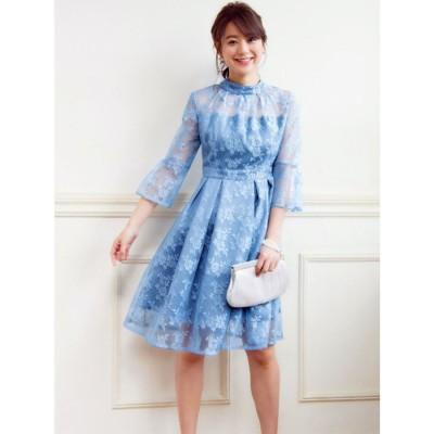 クチュールレースリボンワンピースドレス(7号~13号) (ライトブルー(Z))