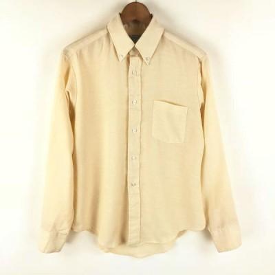 【古着】 ELDERADO 無地シャツ made in USA 70年代 ヴィンテージ ボタンダウン 長袖 ベージュ系 メンズXS 【中古】 n009658