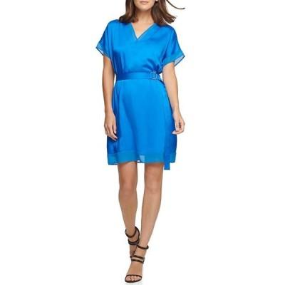 ダナ キャラン ニューヨーク レディース ワンピース トップス Mixed Media V-Neck Short Sleeve Belted Shift Dress