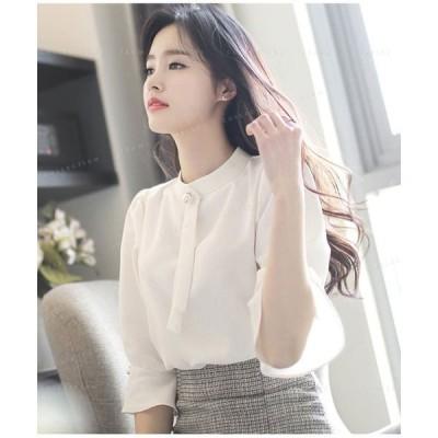 シフォンシャツビジネス通勤オフィス大人ビジュアルレディーストップス無地大人気韓国ファッション可愛い