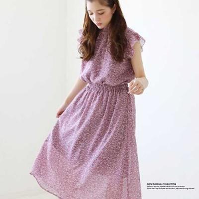 衿シャーリングフリル袖ワンピース アイボリー(1)