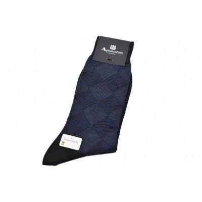 アクアスキュータム 靴下 1足 メンズ ブランド Aquascutum ダイヤ  紺 ネイビー  25 - 27 cm 日本製 カジュアル ビジネス