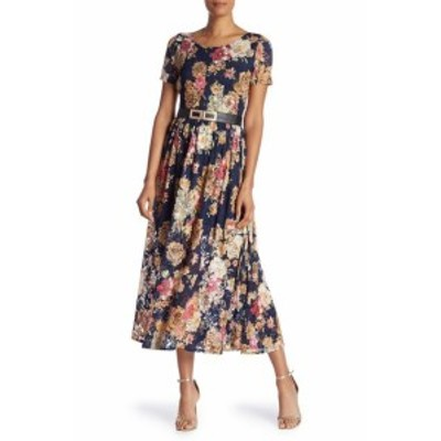Maxi  ファッション ドレス Tina NEW Blue Womens Size XL Floral-Print Lace Belted Maxi Dress