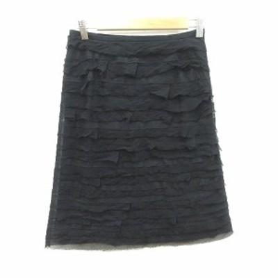 【中古】トゥモローランドコレクション ティアードスカート タイト ひざ丈 フリル 絹 シルク 36 黒 ブラック