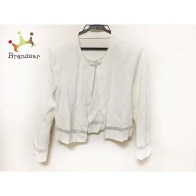 ジュンアシダ JUN ASHIDA カーディガン サイズM レディース 美品 白 ラインストーン/肩パッド     スペシャル特価 20200515