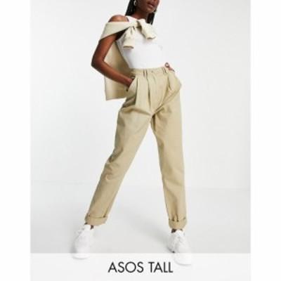 エイソス ASOS Tall レディース ボトムス・パンツ ASOS DESIGN Tall ovoid pleat front peg trouser in sandstone ベージュ