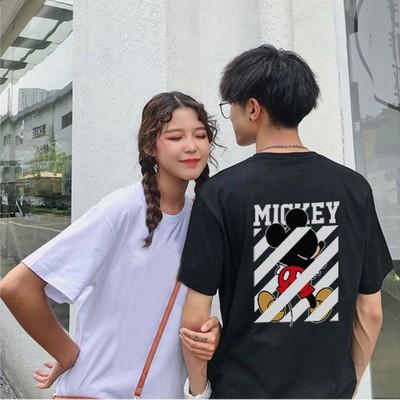 2020新品セール中  ポケットミッキーTシャツ 可愛いミニープリント★ペアルックカップルtシャツ ミッキー Tシャツ ディズニー Tシャツ 半袖 レディース メンズ 綿100%