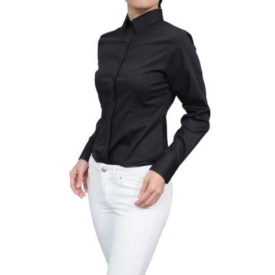 母の日 レディースシャツ ワイシャツ ブラック 黒 オフィス ブラウス ビジネス 長袖 ボタンダウン 日本製 イージーケア ストレッチ 大きいサイズ おしゃれ