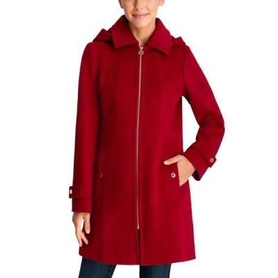マイケルコース コート アウター レディース Petite Hooded Coat,  Red