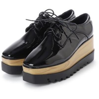 厚底 スニーカー プラットフォーム クッションインソール 3cmインソール エナメル 靴 レディース SALE セール