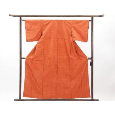 リサイクル着物 小紋 正絹茶オレンジ地袷紬着物