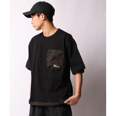 tシャツ Tシャツ 【FILA heritage】異素材ファスナーポケット付き  ワンポイントロゴ 半袖Tシャツ