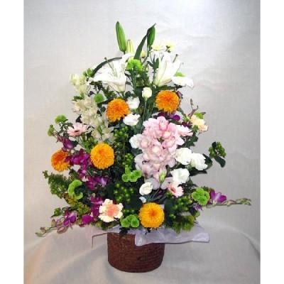 お供えの花 カゴ入り 特上色1段