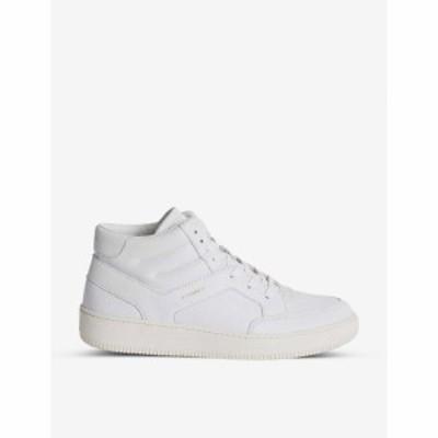 リース REISS メンズ スニーカー レザー シューズ・靴 Grendon Leather High-Top Trainers WHITE