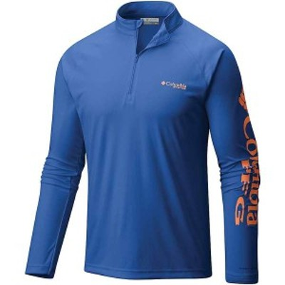 コロンビア メンズ Tシャツ トップス Columbia Men's Terminal Tackle 1/4 Zip Top Vivid Blue / Jupiter