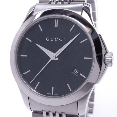 【中古】グッチ Gタイムレス メンズ腕時計 デイト クォーツ SS ブラック文字盤 126.4 YA126480