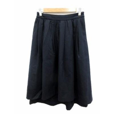 【中古】グリーンレーベルリラクシング ユナイテッドアローズ ギャザースカート ひざ丈 ウール 38 紺 レディース